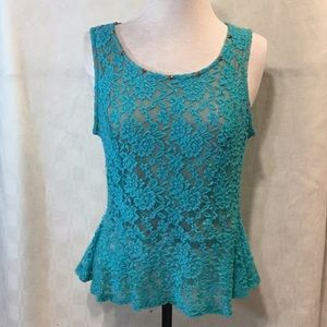 Celine by Champion Turquoise Lace Tank Top Size 1X